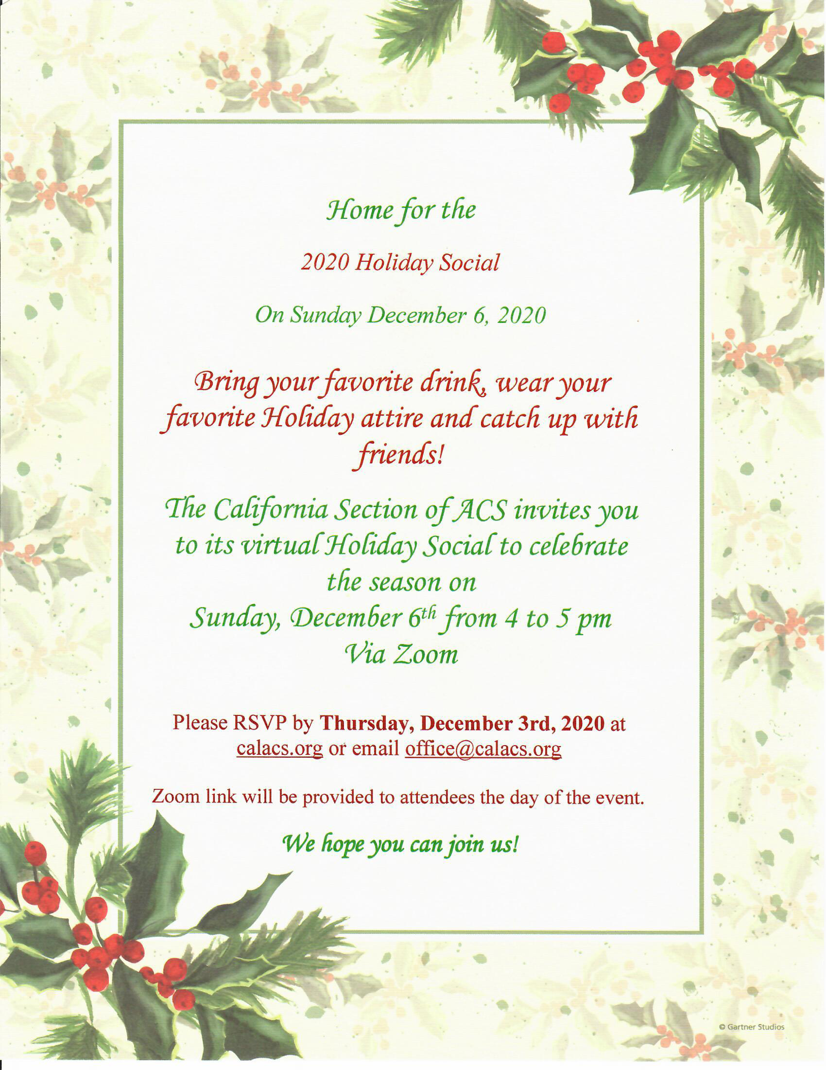California ACS Holiday Party 2020 @ Online Zoom Event