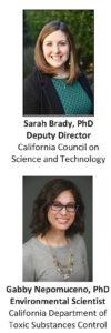Sarah Brady, Deputy Director, CCST and Gabby Nepomuceno, Environmental Scientist, CDTSC
