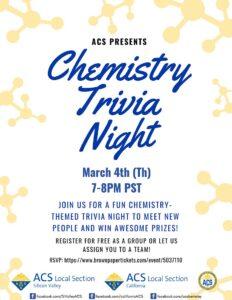 Chemistry Tirvia Night 7 PM 04 March 2021