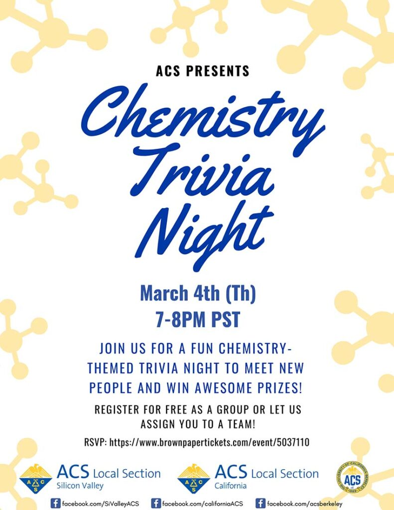 Chemistry Tirvia Night 7 PM 04 March 2021
